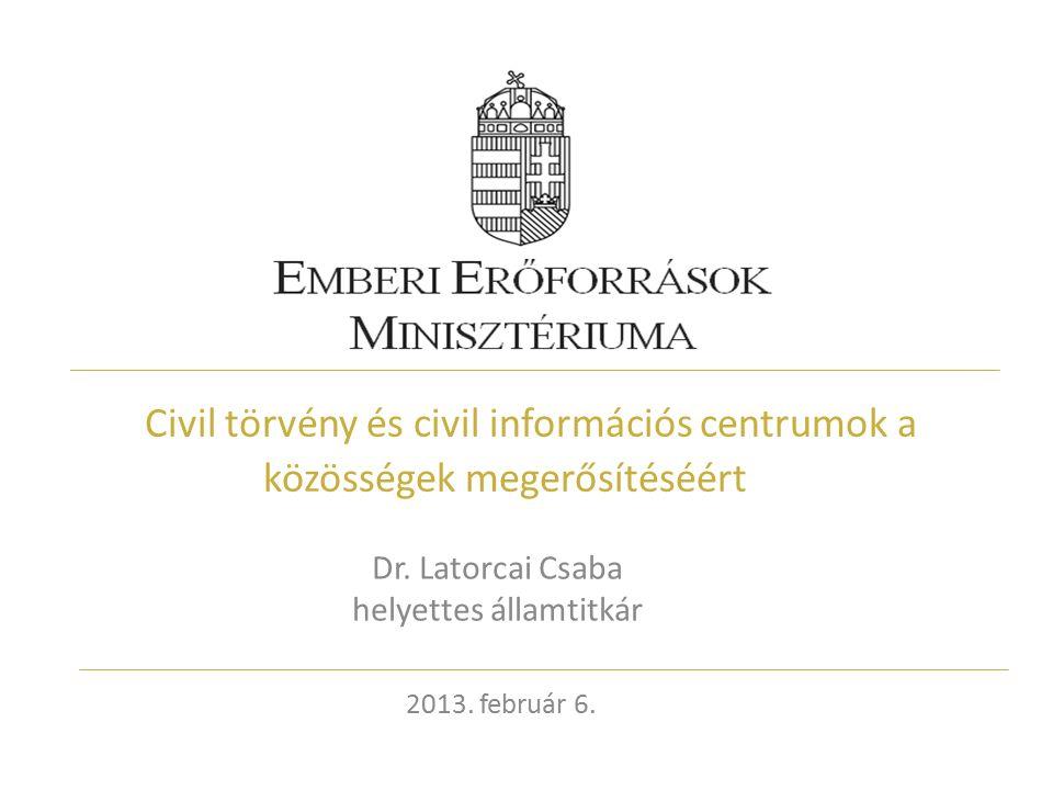 Civil törvény és civil információs centrumok a közösségek megerősítéséért Dr.
