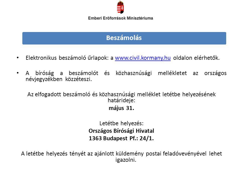 Elektronikus beszámoló űrlapok: a www.civil.kormany.hu oldalon elérhetők.www.civil.kormany.hu A bíróság a beszámolót és közhasznúsági mellékletet az országos névjegyzékben közzéteszi.