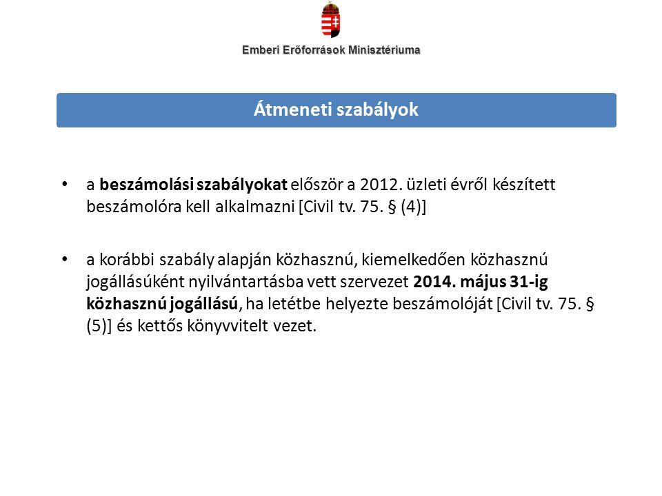 Átmeneti szabályok a beszámolási szabályokat először a 2012.