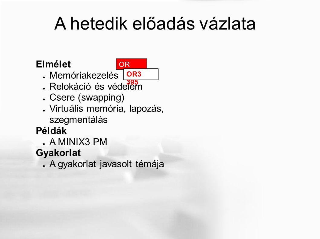 A hetedik előadás vázlata Elmélet ● Memóriakezelés ● Relokáció és védelem ● Csere (swapping) ● Virtuális memória, lapozás, szegmentálás Példák ● A MINIX3 PM Gyakorlat ● A gyakorlat javasolt témája OR 328 OR3 395