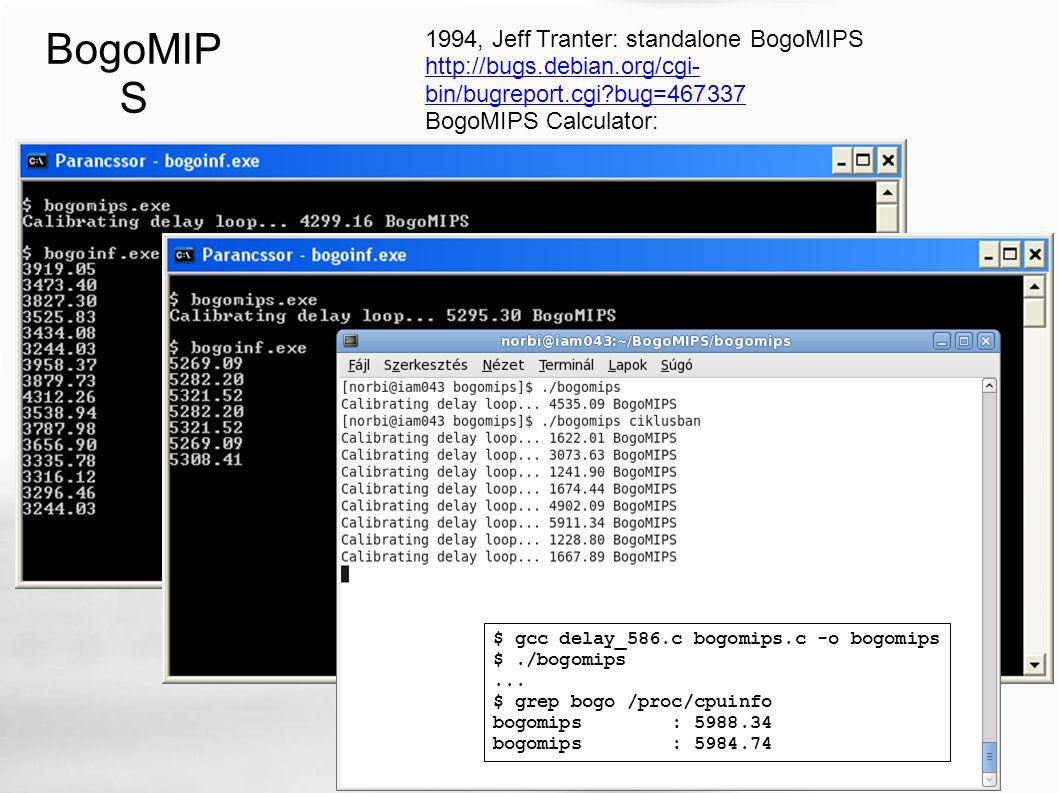 BogoMIP S 1994, Jeff Tranter: standalone BogoMIPS http://bugs.debian.org/cgi- bin/bugreport.cgi bug=467337 BogoMIPS Calculator: http://djwong.org/programs/bogomips/ $ gcc delay_586.c bogomips.c -o bogomips $./bogomips...