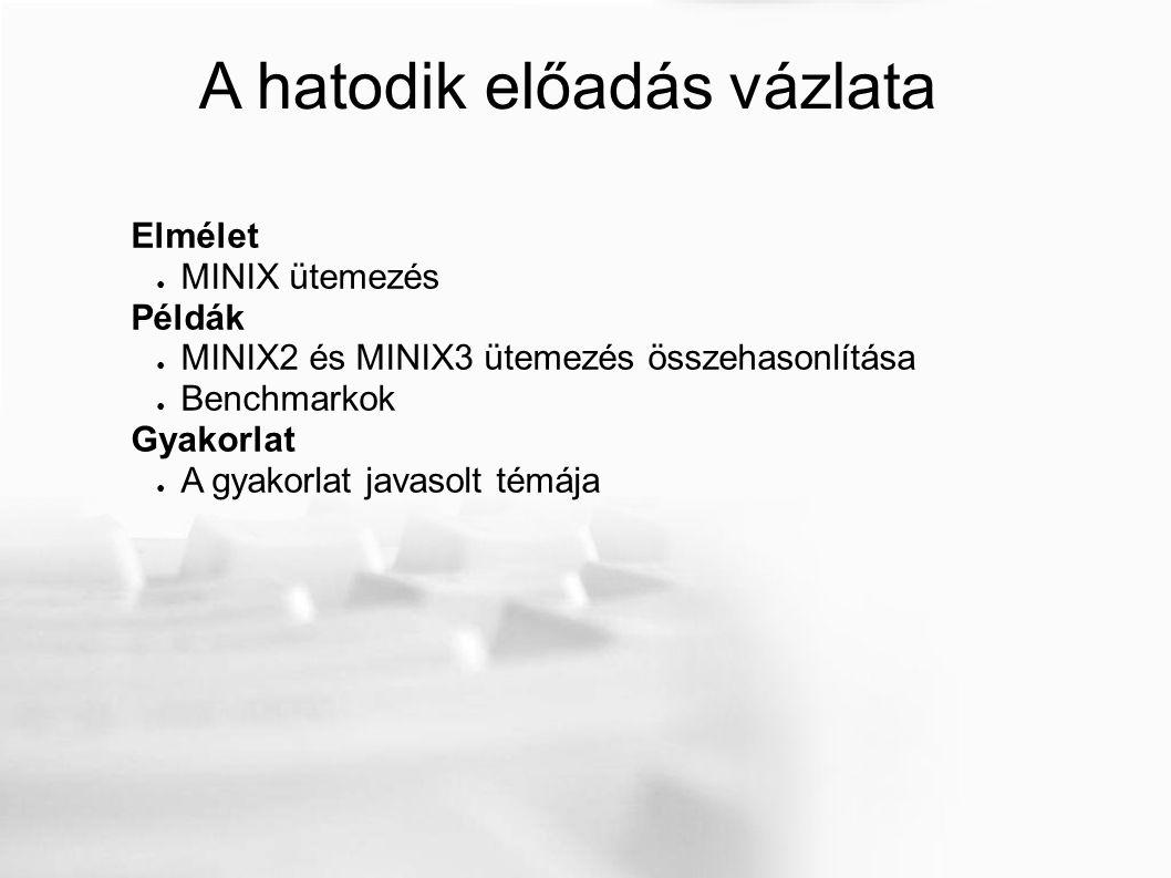A hatodik előadás vázlata Elmélet ● MINIX ütemezés Példák ● MINIX2 és MINIX3 ütemezés összehasonlítása ● Benchmarkok Gyakorlat ● A gyakorlat javasolt témája