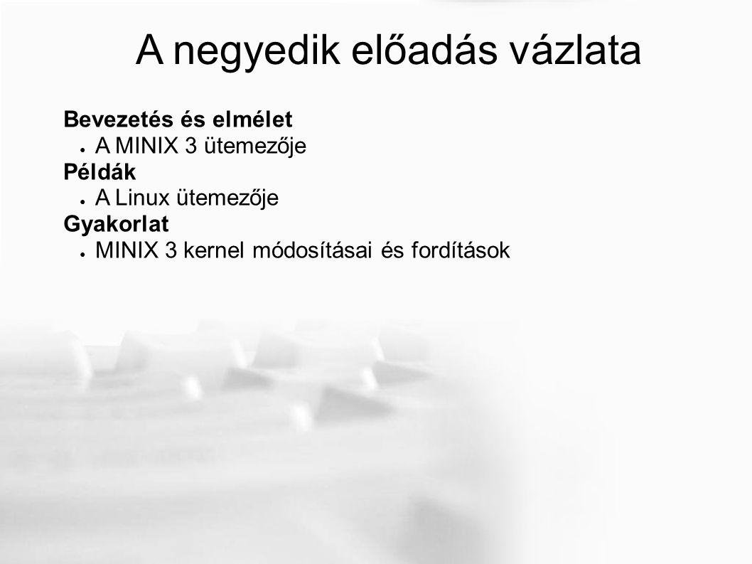 A negyedik előadás vázlata Bevezetés és elmélet ● A MINIX 3 ütemezője Példák ● A Linux ütemezője Gyakorlat ● MINIX 3 kernel módosításai és fordítások