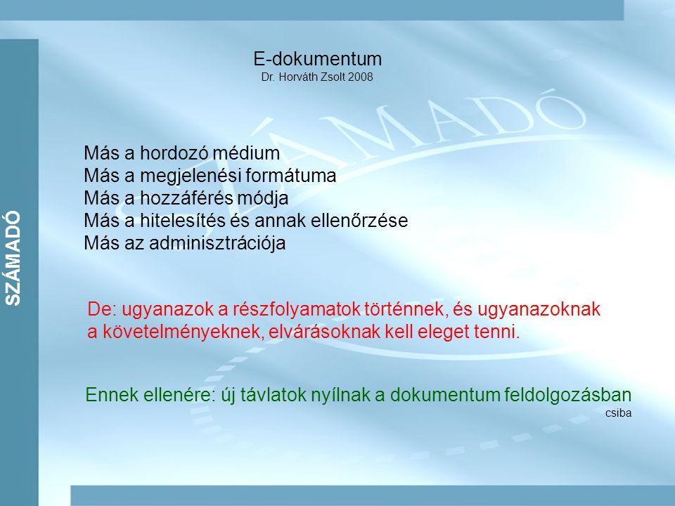 SZÁMADÓ E-dokumentum Dr. Horváth Zsolt 2008 Más a hordozó médium Más a megjelenési formátuma Más a hozzáférés módja Más a hitelesítés és annak ellenőr