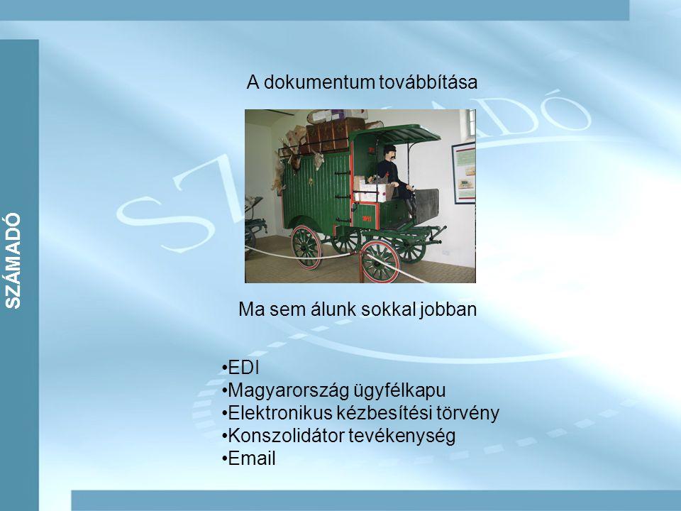 SZÁMADÓ A dokumentum továbbítása Ma sem álunk sokkal jobban EDI Magyarország ügyfélkapu Elektronikus kézbesítési törvény Konszolidátor tevékenység Email