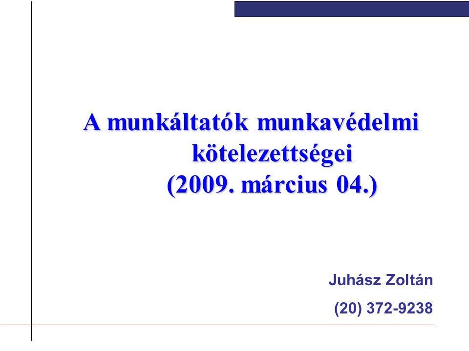 A munkáltatók munkavédelmi kötelezettségei (2009. március 04.) Juhász Zoltán (20) 372-9238