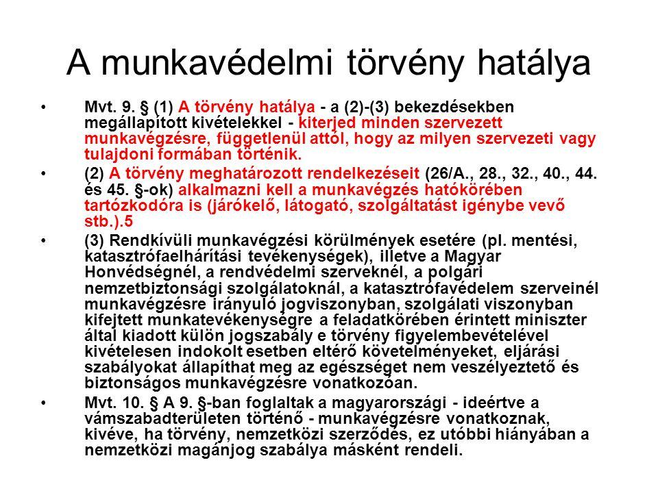 A munkavédelmi törvény hatálya Mvt. 9.