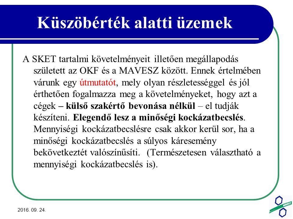Küszöbérték alatti üzemek A SKET tartalmi követelményeit illetően megállapodás született az OKF és a MAVESZ között.