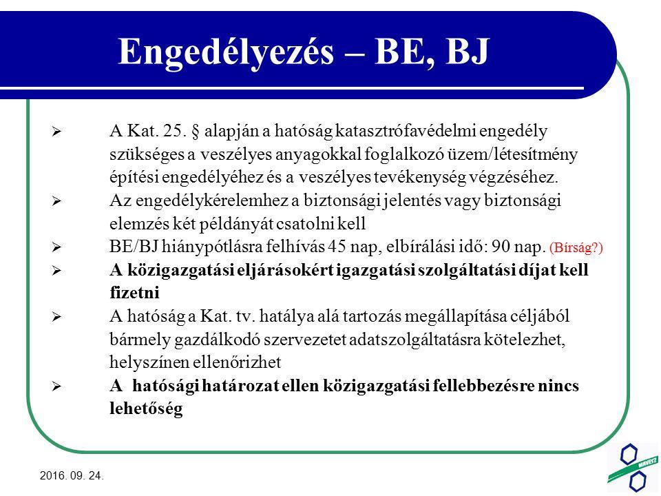 Engedélyezés – BE, BJ  A Kat.25.