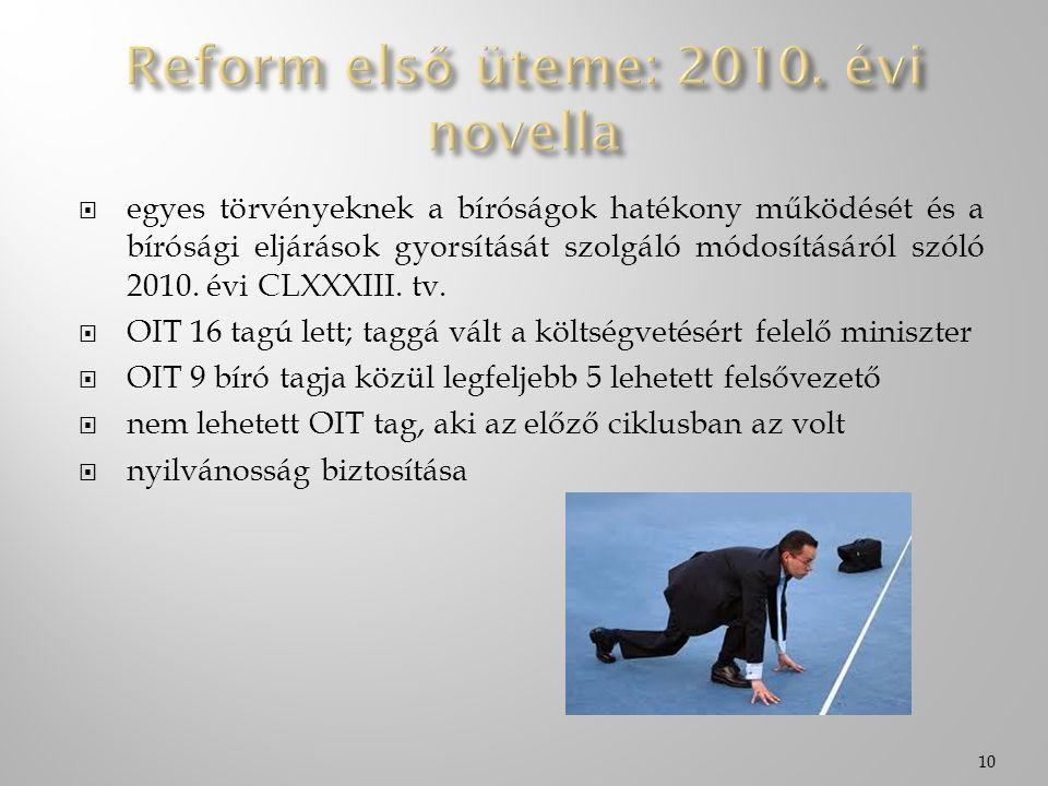  egyes törvényeknek a bíróságok hatékony működését és a bírósági eljárások gyorsítását szolgáló módosításáról szóló 2010. évi CLXXXIII. tv.  OIT 16