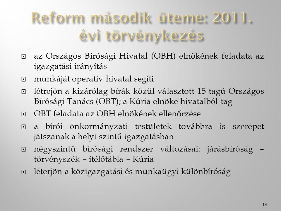  az Országos Bírósági Hivatal (OBH) elnökének feladata az igazgatási irányítás  munkáját operatív hivatal segíti  létrejön a kizárólag bírák közül választott 15 tagú Országos Bírósági Tanács (OBT); a Kúria elnöke hivatalból tag  OBT feladata az OBH elnökének ellenőrzése  a bírói önkormányzati testületek továbbra is szerepet játszanak a helyi szintű igazgatásban  négyszintű bírósági rendszer változásai: járásbíróság – törvényszék – ítélőtábla – Kúria  léterjön a közigazgatási és munkaügyi különbíróság 13