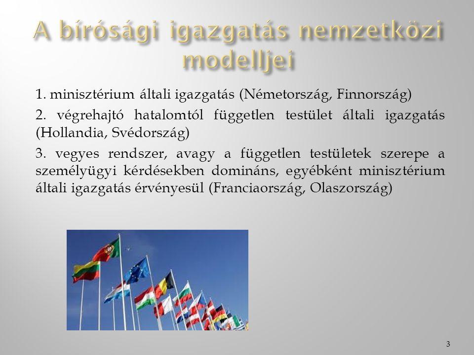 1. minisztérium általi igazgatás (Németország, Finnország) 2. végrehajtó hatalomtól független testület általi igazgatás (Hollandia, Svédország) 3. veg