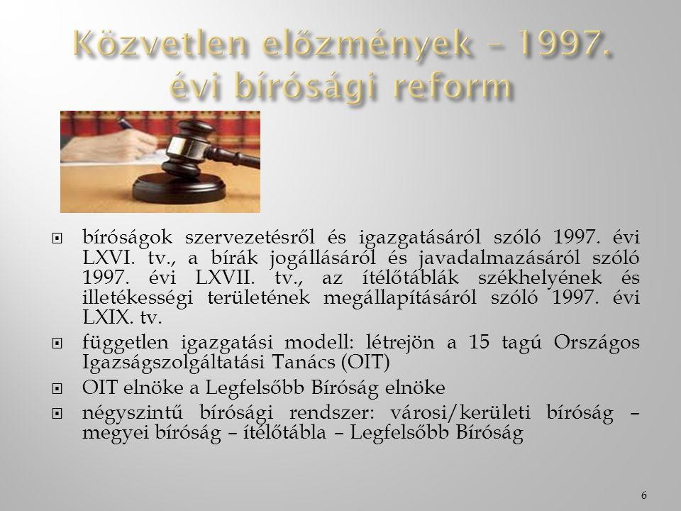  bíróságok szervezetésről és igazgatásáról szóló 1997. évi LXVI. tv., a bírák jogállásáról és javadalmazásáról szóló 1997. évi LXVII. tv., az ítélőtá