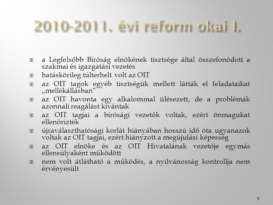  a Legfelsőbb Bíróság elnökének tisztsége által összefonódott a szakmai és igazgatási vezetés  hatáskörileg túlterhelt volt az OIT  az OIT tagok egyéb tisztségük mellett látták el feladataikat,,mellékállásban  az OIT havonta egy alkalommal ülésezett, de a problémák azonnali reagálást kívántak  az OIT tagjai a bírósági vezetők voltak, ezért önmagukat ellenőrizték  újraválaszthatósági korlát hiányában hosszú idő óta ugyanazok voltak az OIT tagjai, ezért hiányzott a megújulási képesség  az OIT elnöke és az OIT Hivatalának vezetője egymás ellensúlyaként működött  nem volt átlátható a működés, a nyilvánosság kontrollja nem érvényesült 8