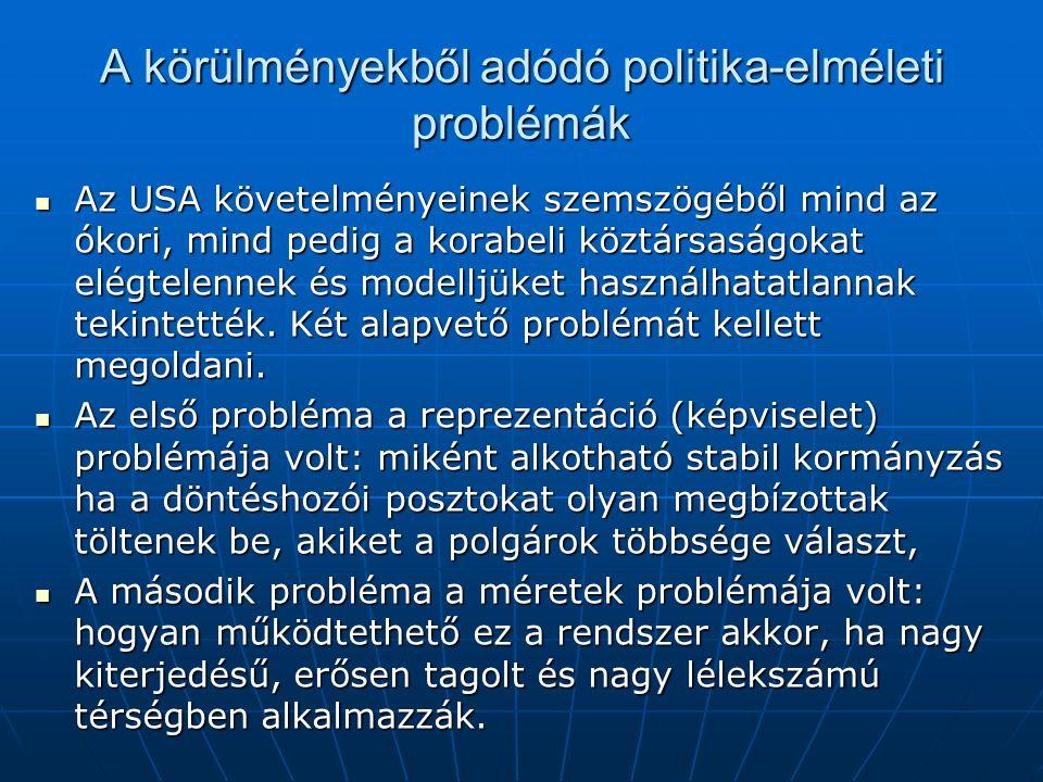 A körülményekből adódó politika-elméleti problémák Az USA követelményeinek szemszögéből mind az ókori, mind pedig a korabeli köztársaságokat elégtelennek és modelljüket használhatatlannak tekintették.
