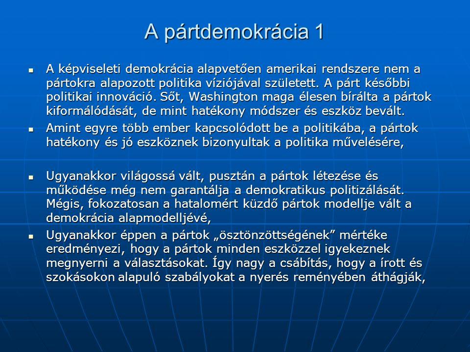 A pártdemokrácia 1 A képviseleti demokrácia alapvetően amerikai rendszere nem a pártokra alapozott politika víziójával született.