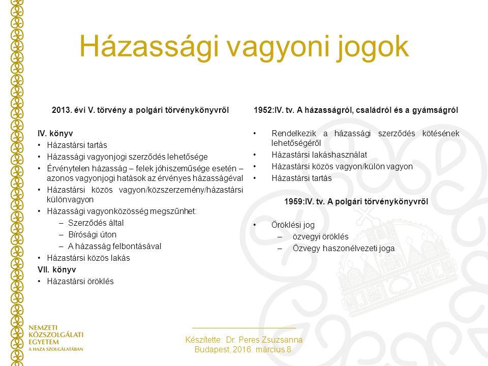 Készítette: Dr. Peres Zsuzsanna Budapest, 2016. március 8. Házassági vagyoni jogok 2013. évi V. törvény a polgári törvénykönyvről IV. könyv Házastársi