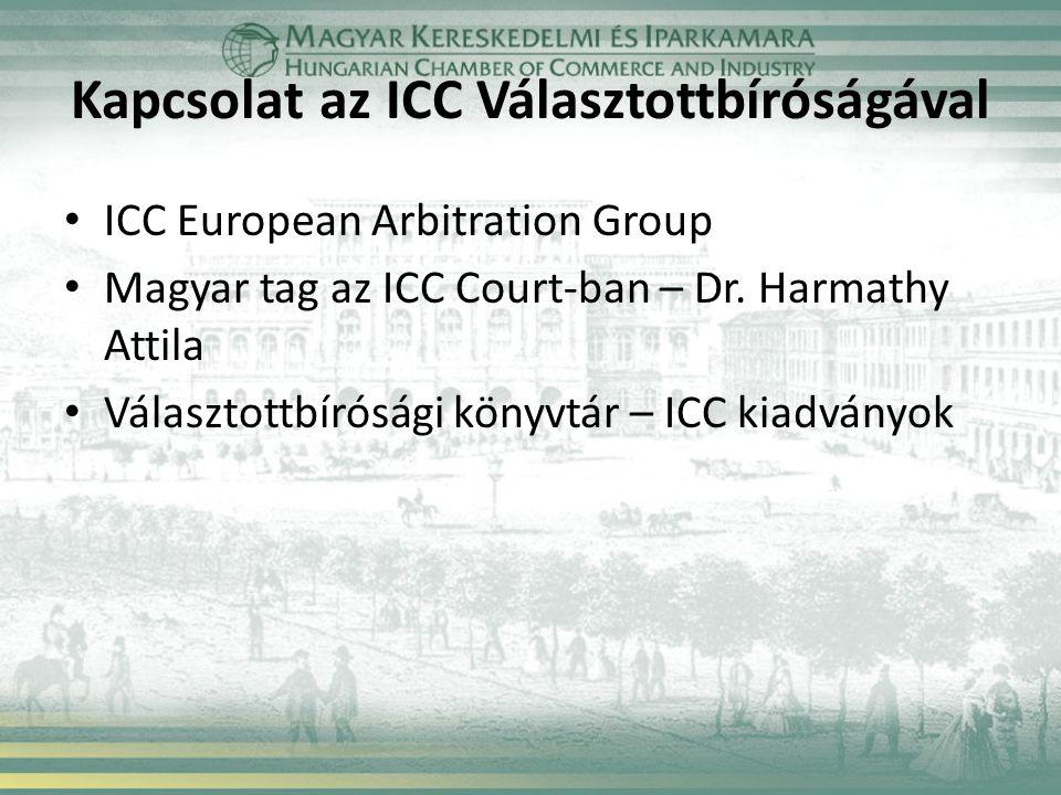 Kapcsolat az ICC Választottbíróságával ICC European Arbitration Group Magyar tag az ICC Court-ban – Dr.