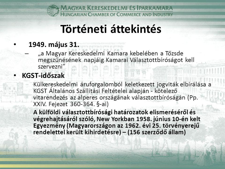 Rendszerváltás a választottbíráskodásban Gazdasági nyitás - Új lehetőségek a gazdasági szereplők számára a választottbíráskodás kikötésére 1982 – Választottbírósági megállapodás az Osztrák Gazdasági Kamara Nemzetközi Választottbíróságával UNCITRAL Rules alkalmazásával 1988 – Társasági törvény – Külföldiek magyarországi befektetéseiről szóló törvény – Értékpapírtörvény – Koncessziós törvény – Ptk.