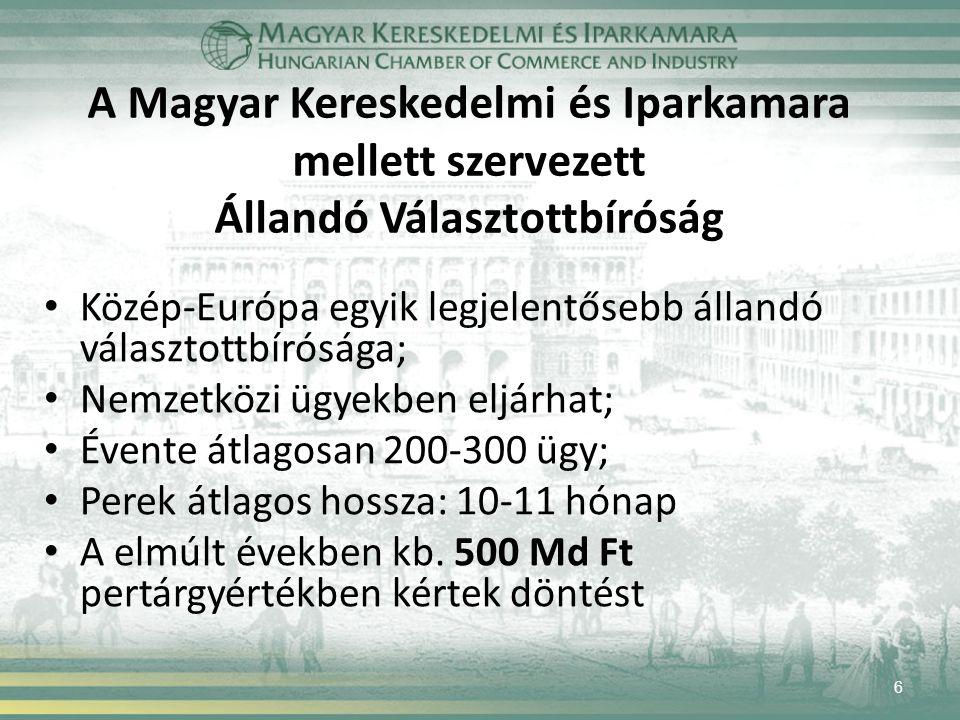 A Magyar Kereskedelmi és Iparkamara mellett szervezett Állandó Választottbíróság Közép-Európa egyik legjelentősebb állandó választottbírósága; Nemzetközi ügyekben eljárhat; Évente átlagosan 200-300 ügy; Perek átlagos hossza: 10-11 hónap A elmúlt években kb.