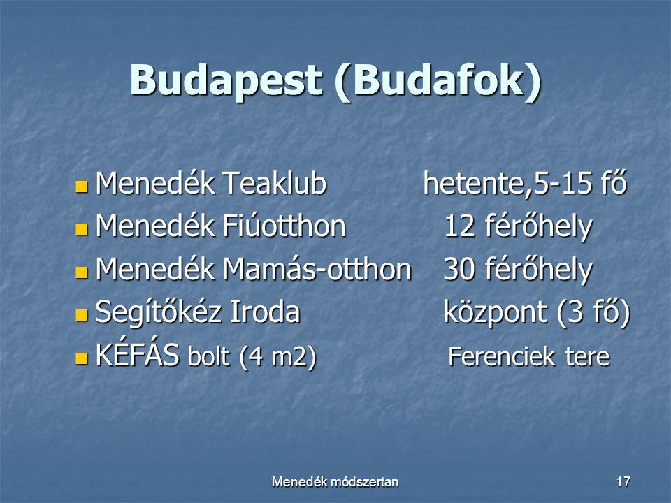 Menedék módszertan17 Budapest (Budafok) Menedék Teaklub hetente,5-15 fő Menedék Teaklub hetente,5-15 fő Menedék Fiúotthon 12 férőhely Menedék Fiúotthon 12 férőhely Menedék Mamás-otthon 30 férőhely Menedék Mamás-otthon 30 férőhely Segítőkéz Irodaközpont (3 fő) Segítőkéz Irodaközpont (3 fő) KÉFÁS bolt (4 m2) Ferenciek tere KÉFÁS bolt (4 m2) Ferenciek tere