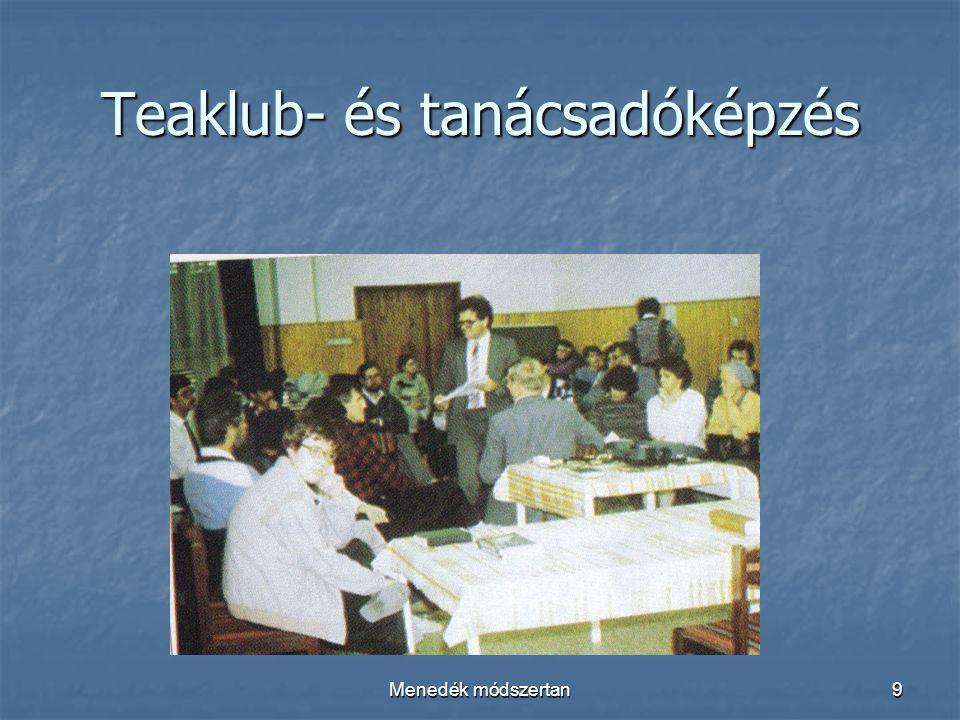 Menedék módszertan9 Teaklub- és tanácsadóképzés