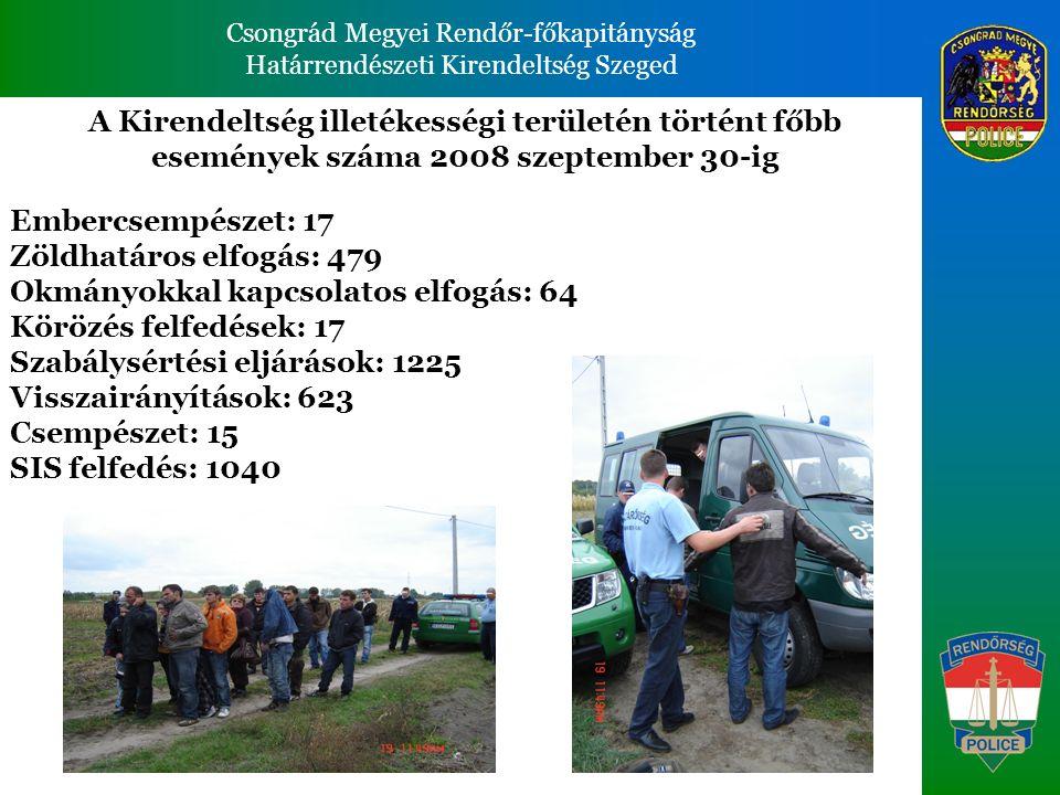 Csongrád Megyei Rendőr-főkapitányság Határrendészeti Kirendeltség Szeged Csongrád Megyei Rendőr-főkapitányság Határrendészeti Kirendeltség Szeged A Kirendeltség illetékességi területén történt főbb események száma 2008 szeptember 30-ig Embercsempészet: 17 Zöldhatáros elfogás: 479 Okmányokkal kapcsolatos elfogás: 64 Körözés felfedések: 17 Szabálysértési eljárások: 1225 Visszairányítások: 623 Csempészet: 15 SIS felfedés: 1040