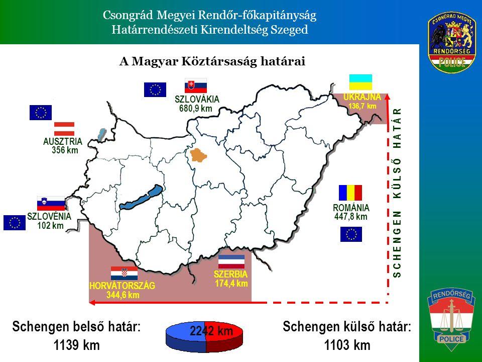 Csongrád Megyei Rendőr-főkapitányság Határrendészeti Kirendeltség Szeged Csongrád Megyei Rendőr-főkapitányság Határrendészeti Kirendeltség Szeged Csongrád Megyei Rendőr-főkapitányság illetékességi területe Szeged HRK Határrendészeti Kirendeltség Jelmagyarázat: SRB Külső határ, 64 km (47 %) Belső határ, 68 km (53%) Viszonylat : Szerbia és Románia RO