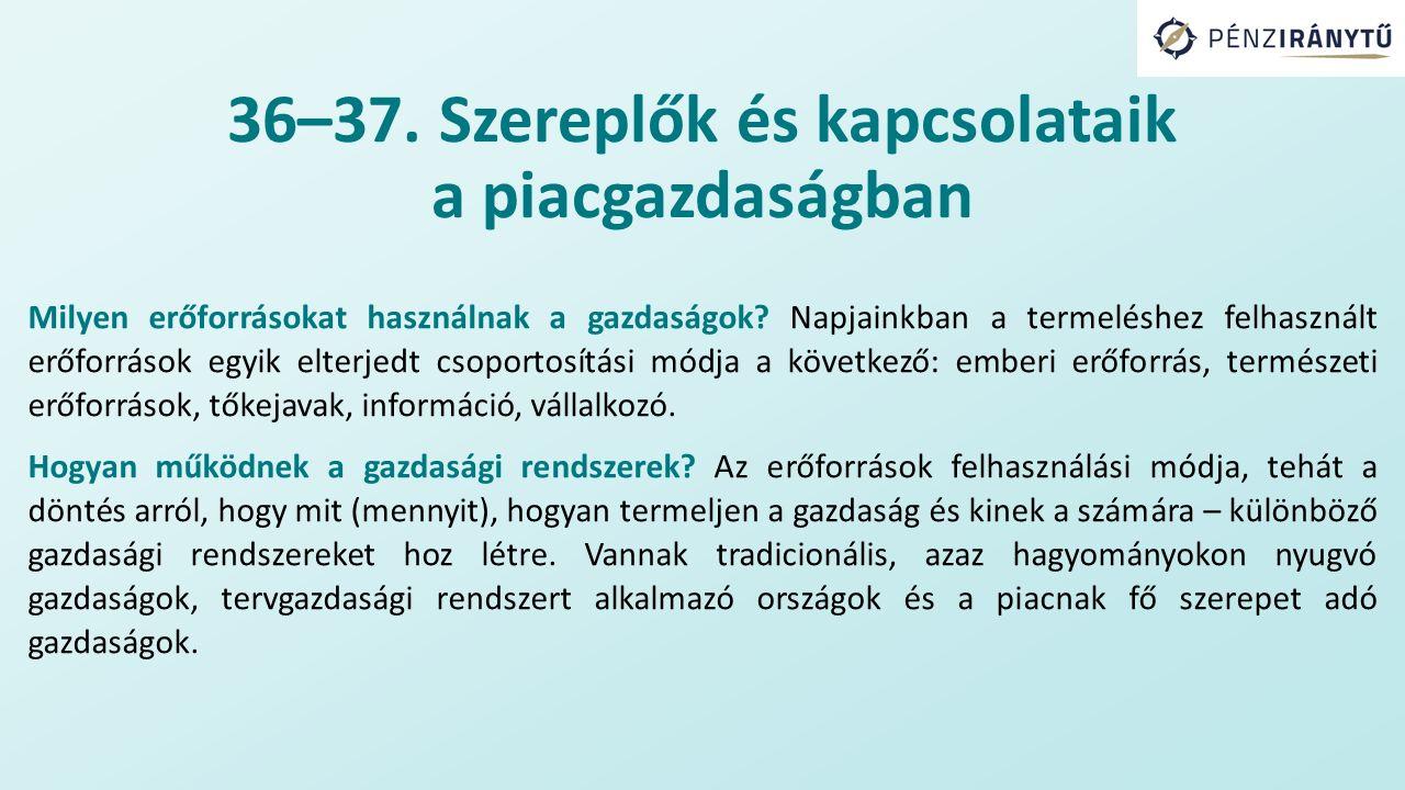 36–37. Szereplők és kapcsolataik a piacgazdaságban Milyen erőforrásokat használnak a gazdaságok.