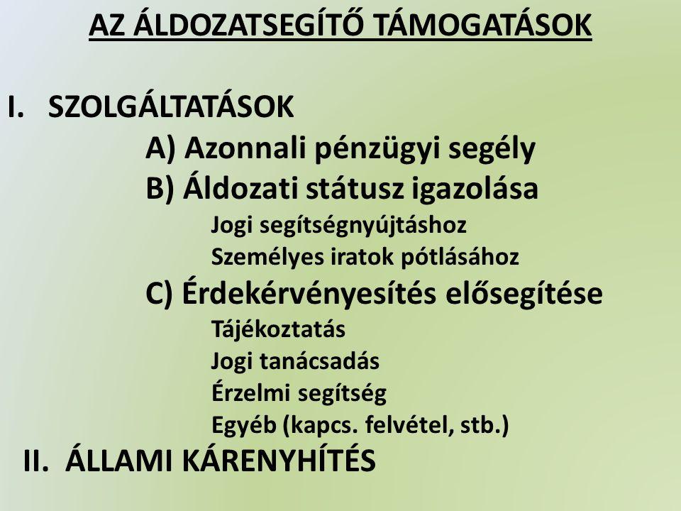 AZ ÁLDOZATSEGÍTŐ TÁMOGATÁSOK I.