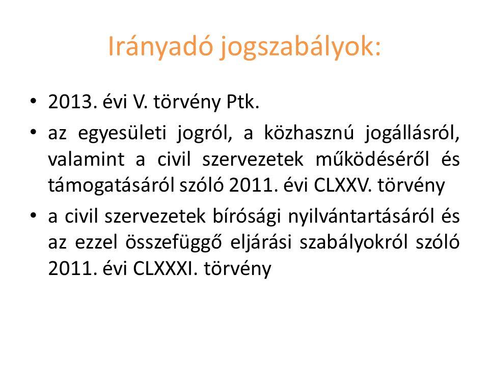 Irányadó jogszabályok: 2013. évi V. törvény Ptk.