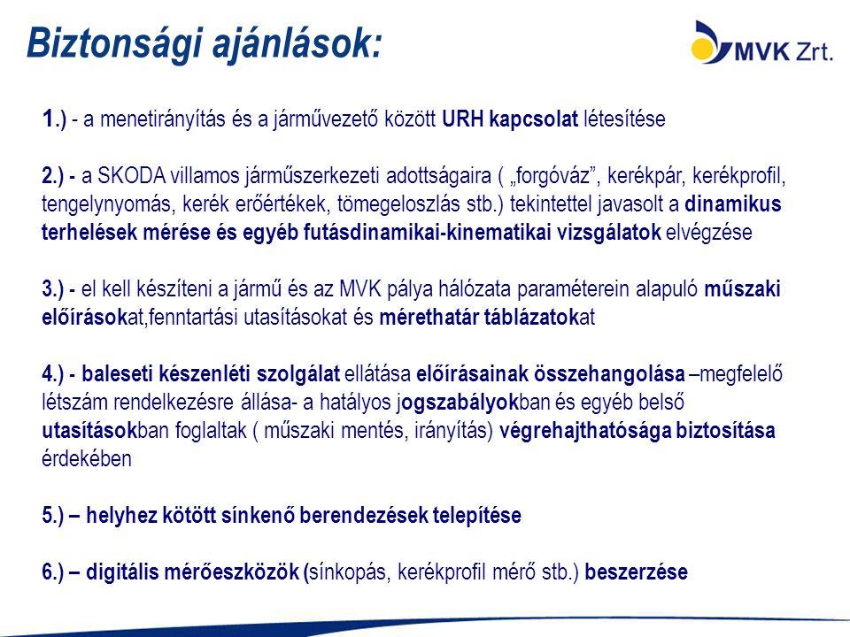 """Biztonsági ajánlások: 1.) - a menetirányítás és a járművezető között URH kapcsolat létesítése 2.) - a SKODA villamos járműszerkezeti adottságaira ( """"forgóváz , kerékpár, kerékprofil, tengelynyomás, kerék erőértékek, tömegeloszlás stb.) tekintettel javasolt a dinamikus terhelések mérése és egyéb futásdinamikai-kinematikai vizsgálatok elvégzése 3.) - el kell készíteni a jármű és az MVK pálya hálózata paraméterein alapuló műszaki előírások at,fenntartási utasításokat és mérethatár táblázatok at 4.) - baleseti készenléti szolgálat ellátása előírásainak összehangolása –megfelelő létszám rendelkezésre állása- a hatályos j ogszabályok ban és egyéb belső utasítások ban foglaltak ( műszaki mentés, irányítás) végrehajthatósága biztosítása érdekében 5.) – helyhez kötött sínkenő berendezések telepítése 6.) – digitális mérőeszközök ( sínkopás, kerékprofil mérő stb.) beszerzése"""