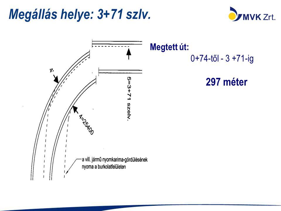 Megállás helye: 3+71 szlv. Megtett út: 0+74-től - 3 +71-ig 297 méter