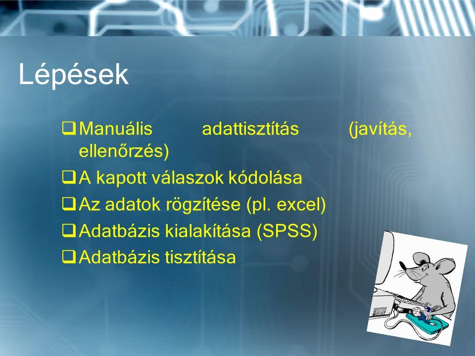 Lépések  Manuális adattisztítás (javítás, ellenőrzés)  A kapott válaszok kódolása  Az adatok rögzítése (pl.
