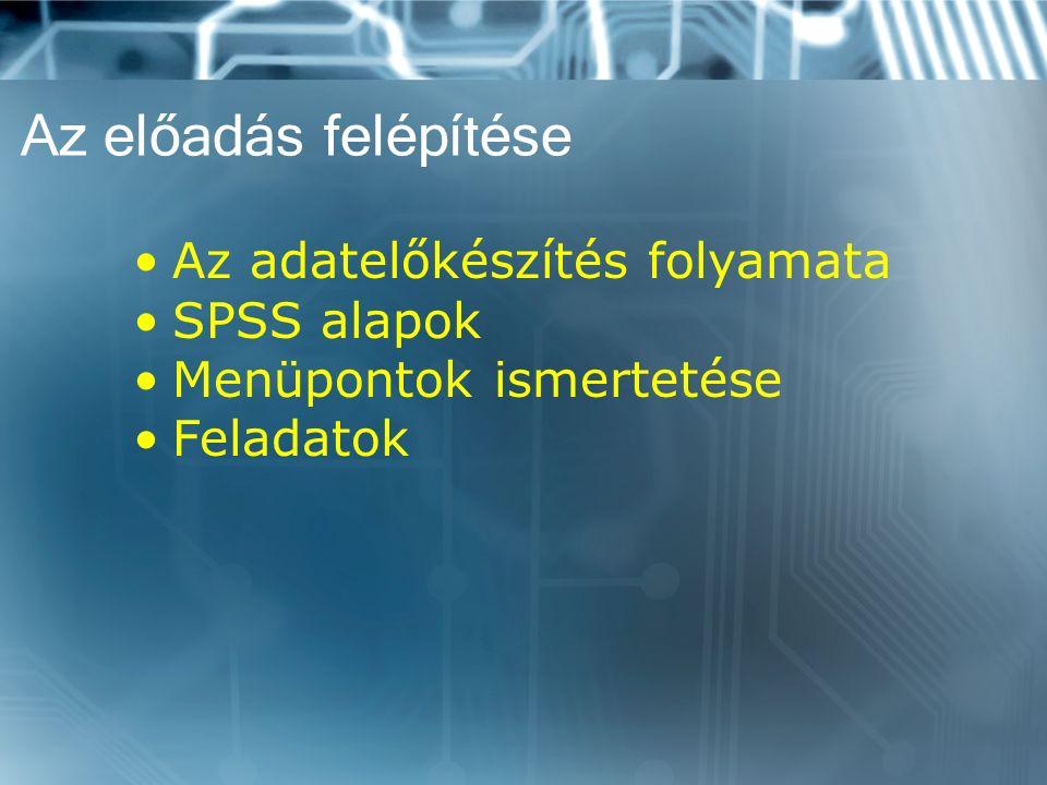 Az előadás felépítése Az adatelőkészítés folyamata SPSS alapok Menüpontok ismertetése Feladatok