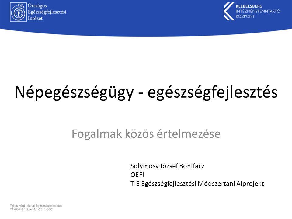 Népegészségügy - egészségfejlesztés Fogalmak közös értelmezése Solymosy József Bonifácz OEFI TIE Egészségfejlesztési Módszertani Alprojekt