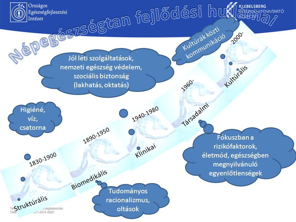 1830-1900 Struktúrális Biomedikális Klinikai Társadalmi Kultúrális 1890-1950 1940-1980 1960- 2000- Higiéné, víz, csatorna Tudományos racionalizmus, ol