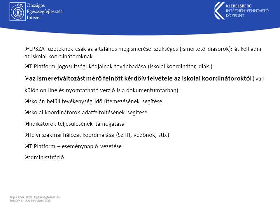 EPSZA füzeteknek csak az általános megismerése szükséges (ismertető diasorok); át kell adni az iskolai koordinátoroknak  IT-Platform jogosultsági k