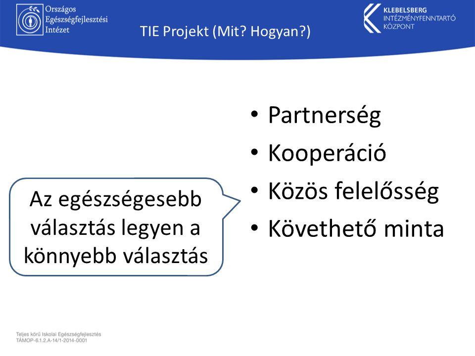 TIE Projekt (Mit? Hogyan?) Partnerség Kooperáció Közös felelősség Követhető minta Az egészségesebb választás legyen a könnyebb választás