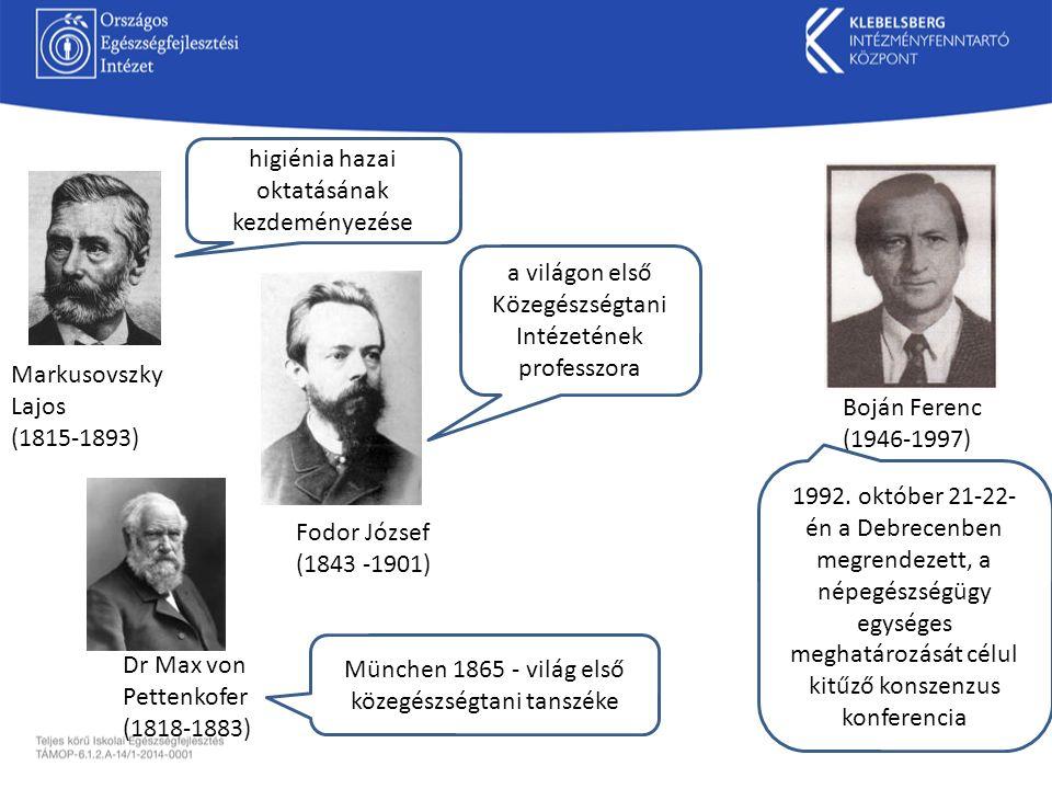 Boján Ferenc (1946-1997) Fodor József (1843 -1901) Markusovszky Lajos (1815-1893) Dr Max von Pettenkofer (1818-1883) München 1865 - világ első közegés