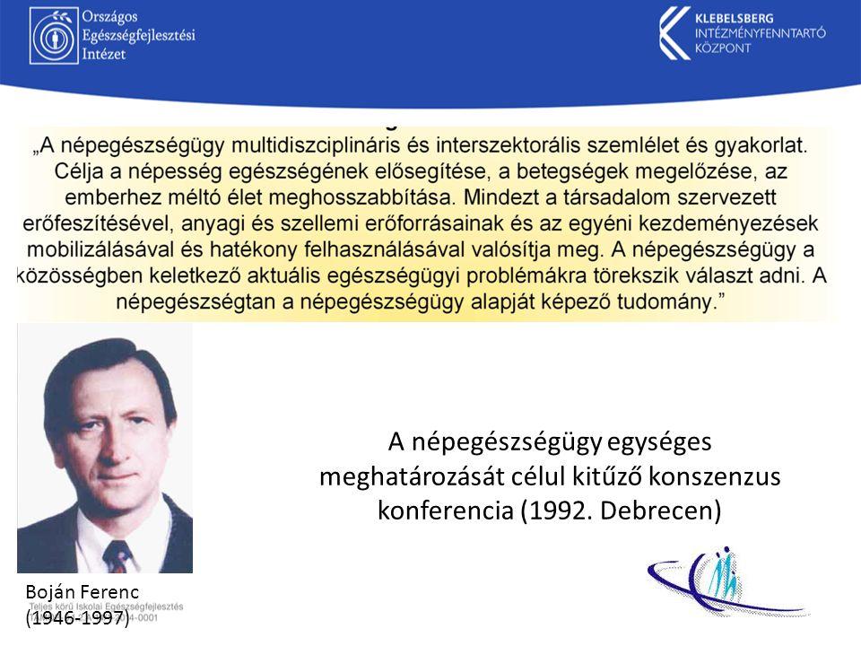 A népegészségügy egységes meghatározását célul kitűző konszenzus konferencia (1992. Debrecen) Boján Ferenc (1946-1997)