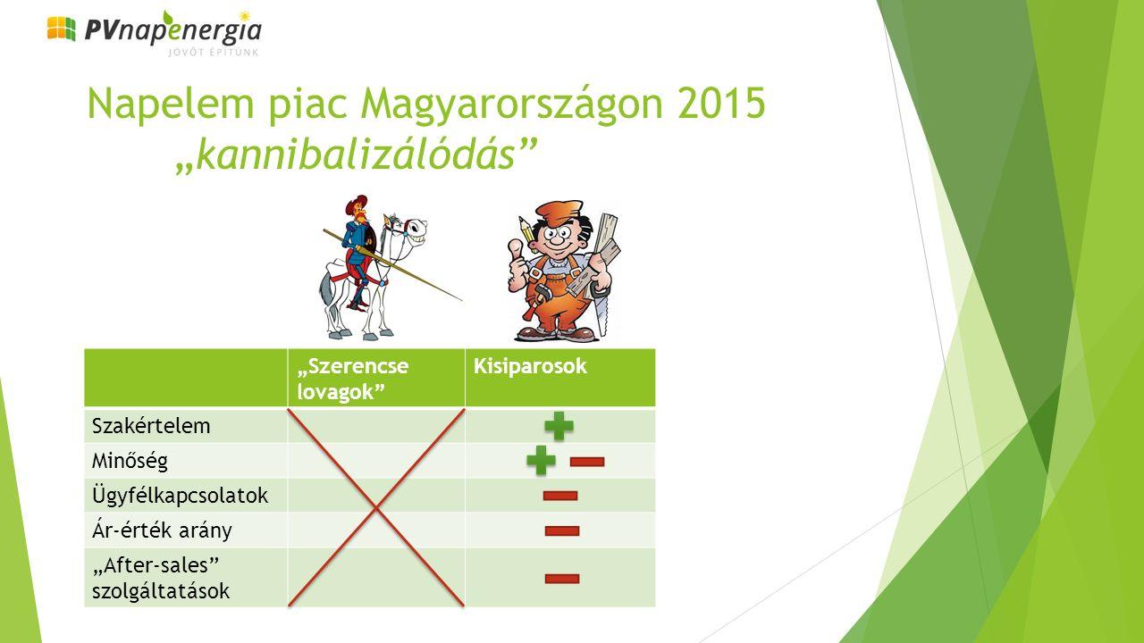 """Napelem piac Magyarországon 2015 """"kannibalizálódás """"Szerencse lovagok Kisiparosok Szakértelem Minőség Ügyfélkapcsolatok Ár-érték arány """"After-sales szolgáltatások"""