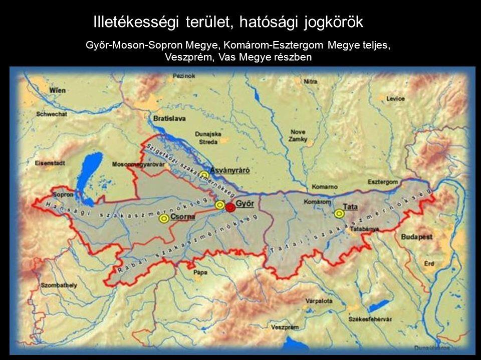 Illetékességi terület, hatósági jogkörök Győr-Moson-Sopron Megye, Komárom-Esztergom Megye teljes, Veszprém, Vas Megye részben