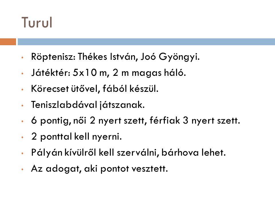 Turul Röptenisz: Thékes István, Joó Gyöngyi. Játéktér: 5x10 m, 2 m magas háló.
