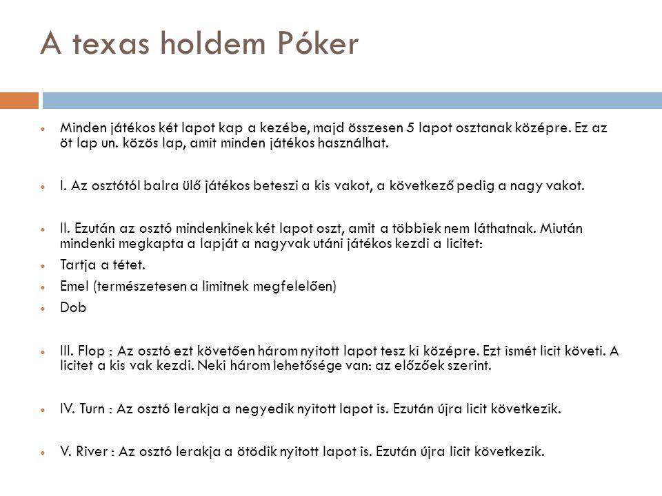 A texas holdem Póker Minden játékos két lapot kap a kezébe, majd összesen 5 lapot osztanak középre. Ez az öt lap un. közös lap, amit minden játékos ha