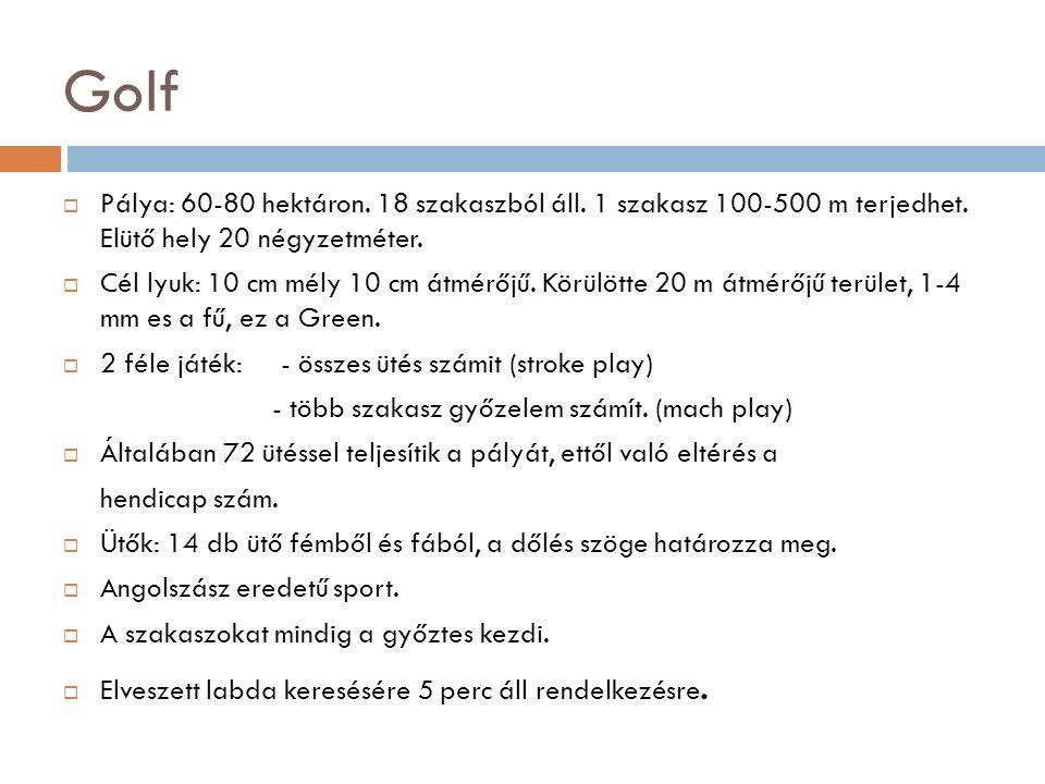Golf  Pálya: 60-80 hektáron. 18 szakaszból áll. 1 szakasz 100-500 m terjedhet.
