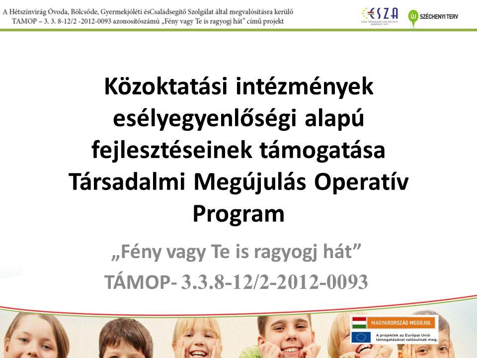 """Közoktatási intézmények esélyegyenlőségi alapú fejlesztéseinek támogatása Társadalmi Megújulás Operatív Program """"Fény vagy Te is ragyogj hát TÁMOP- 3.3.8-12/2-2012-0093"""