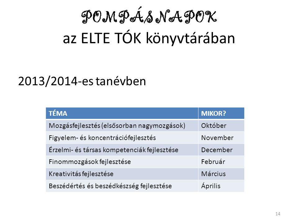 POMPÁS NAPOK az ELTE TÓK könyvtárában 2013/2014-es tanévben TÉMAMIKOR? Mozgásfejlesztés (elsősorban nagymozgások)Október Figyelem- és koncentrációfejl