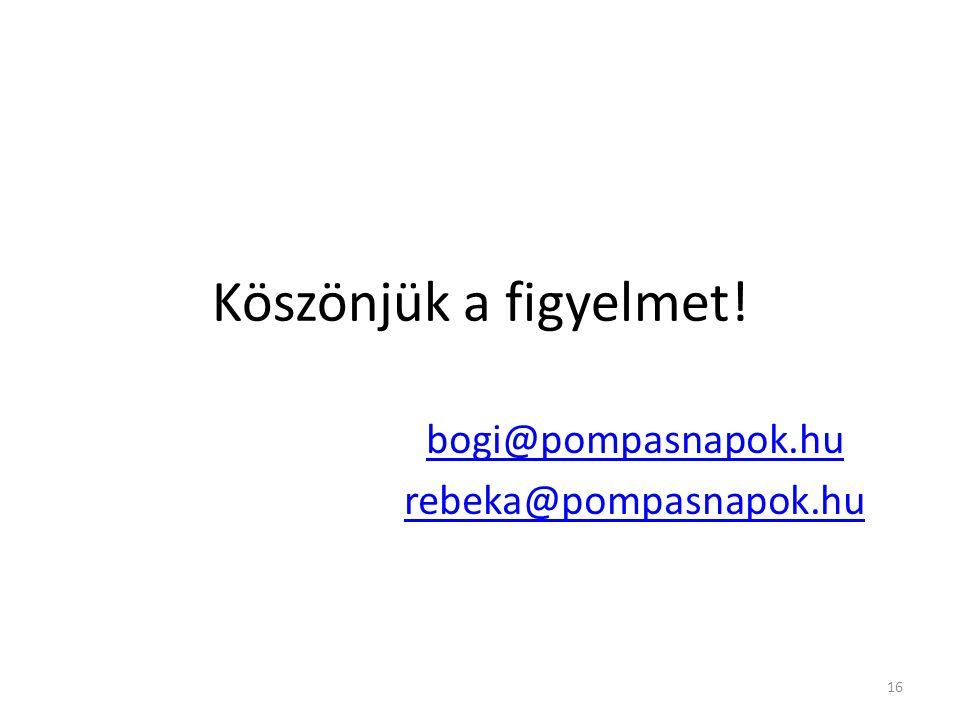 Köszönjük a figyelmet! bogi@pompasnapok.hu rebeka@pompasnapok.hu 16