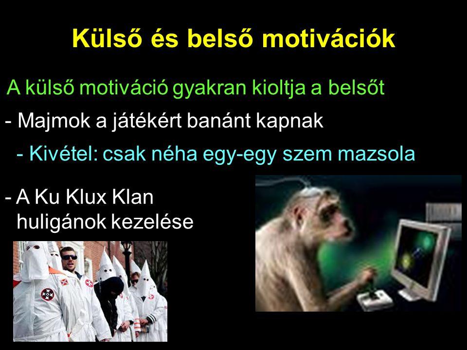 Külső és belső motivációk - Majmok a játékért banánt kapnak - Kivétel: csak néha egy-egy szem mazsola - A Ku Klux Klan huligánok kezelése A külső motiváció gyakran kioltja a belsőt